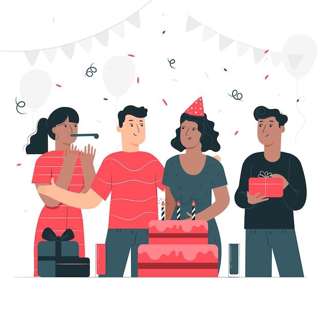 Ilustração do conceito de feliz aniversário Vetor grátis