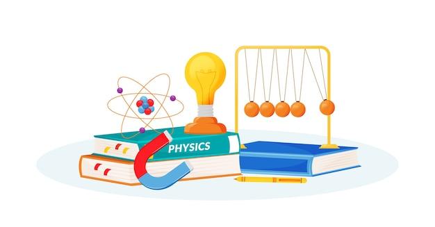 Ilustração do conceito de física plana. matéria escolar. metáfora das ciências naturais. aula prática. curso universitário. livro do aluno e itens de laboratório escolar objetos 2d de desenhos animados Vetor Premium
