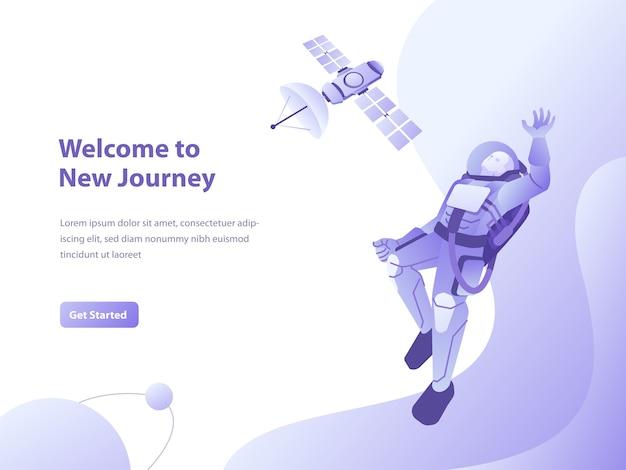 Ilustração do conceito de galáxia, espaço e astronauta para página de destino Vetor Premium