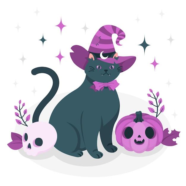 Ilustração do conceito de gato com chapéu de bruxa Vetor grátis