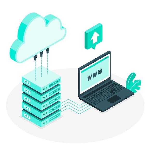 Ilustração do conceito de hospedagem em nuvem Vetor grátis