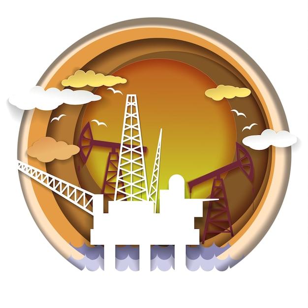 Ilustração do conceito de indústria de petróleo em estilo de arte de papel Vetor Premium