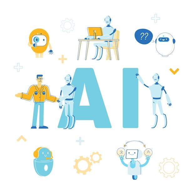 Ilustração do conceito de inteligência artificial Vetor Premium