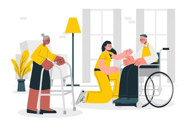Ilustração do conceito de lar de idosos Vetor grátis