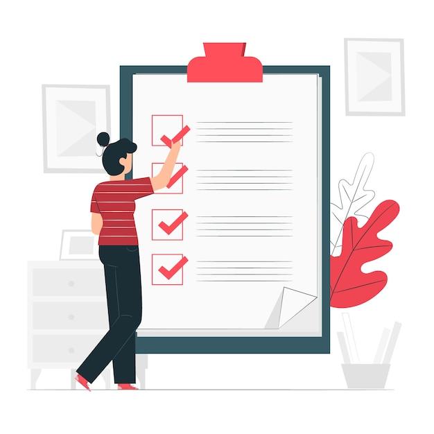 Ilustração do conceito de lista de verificação Vetor grátis