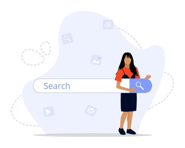 Ilustração do conceito de mecanismo de pesquisa Vetor Premium