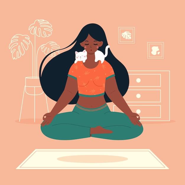 Ilustração do conceito de meditação Vetor grátis