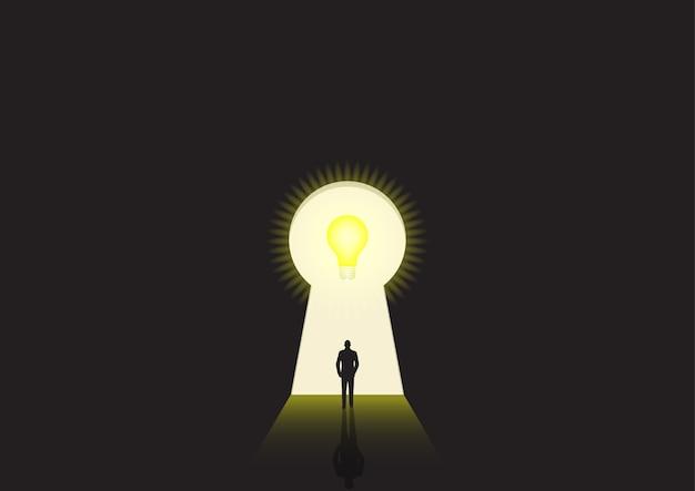 Ilustração do conceito de negócio de um empresário caminhando em direção a uma fechadura brilhante Vetor Premium