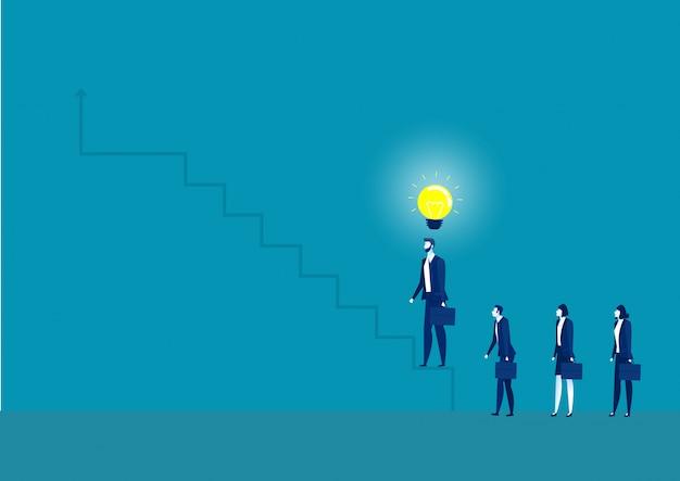 Ilustração do conceito de negócio de um empresário tem idéia de pisar escadas Vetor Premium