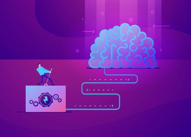 Ilustração do conceito de negócio do homem que liga a ideia do cérebro Vetor Premium