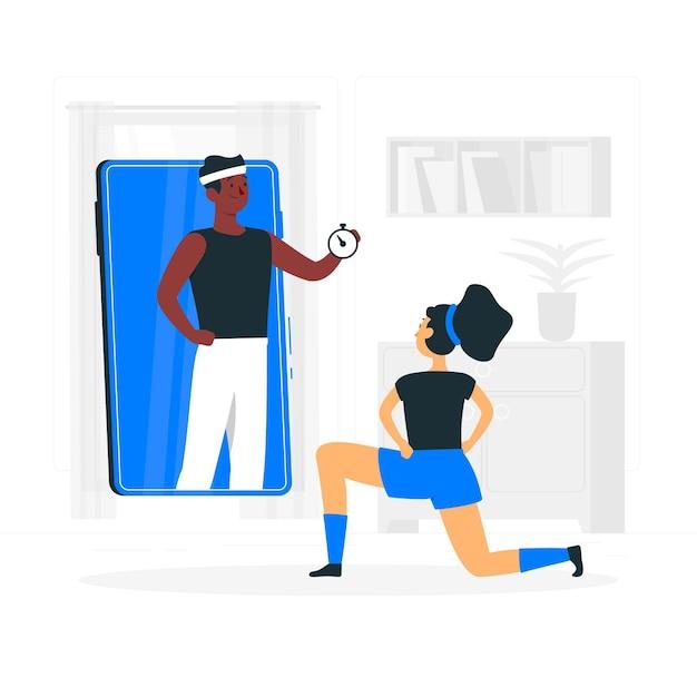 Ilustração do conceito de personal trainer on-line Vetor grátis