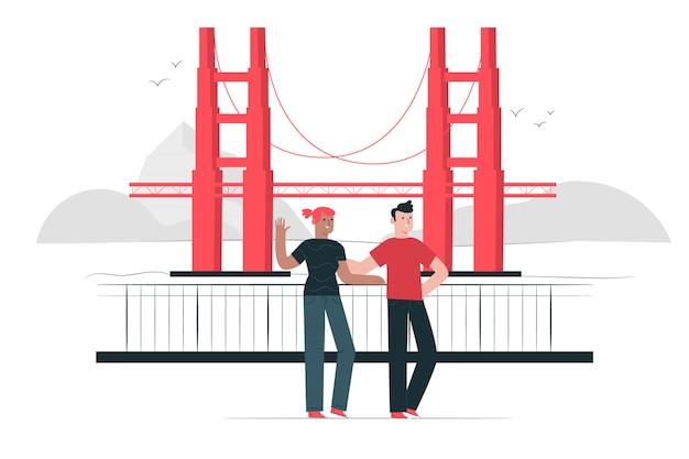 Ilustração do conceito de ponte golden gate Vetor grátis
