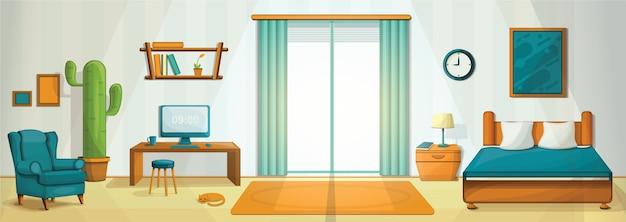 Ilustração do conceito de quarto interior, estilo cartoon Vetor Premium