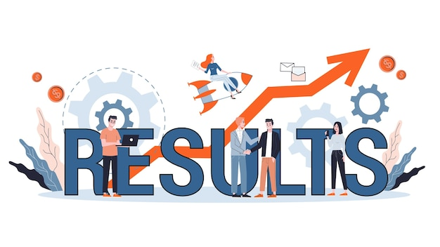Ilustração do conceito de resultado. ideia de crescimento, análise e sucesso. Vetor Premium