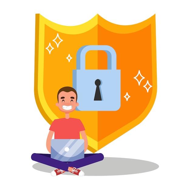 Ilustração do conceito de segurança e proteção de dados na internet Vetor Premium