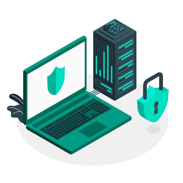 Ilustração do conceito de servidor seguro Vetor grátis