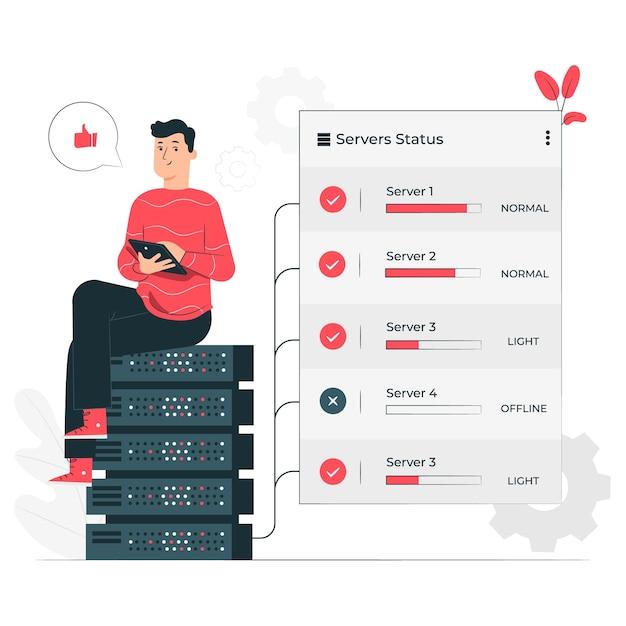 Ilustração do conceito de status do servidor Vetor grátis