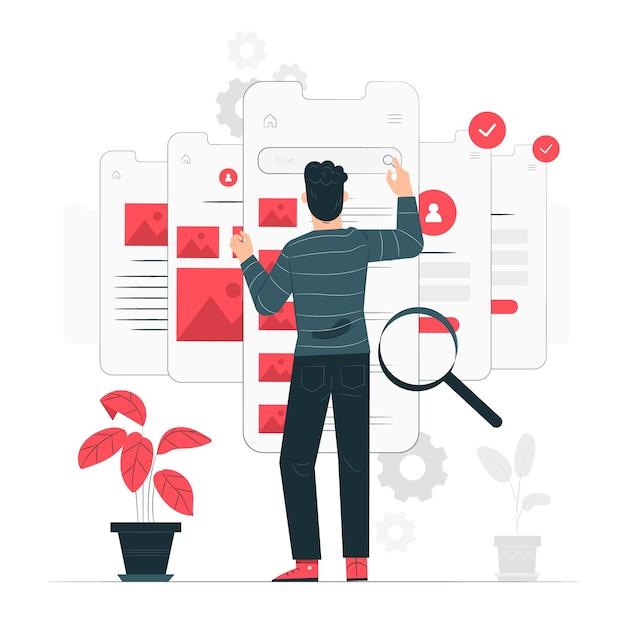 Ilustração do conceito de teste de usabilidade Vetor grátis