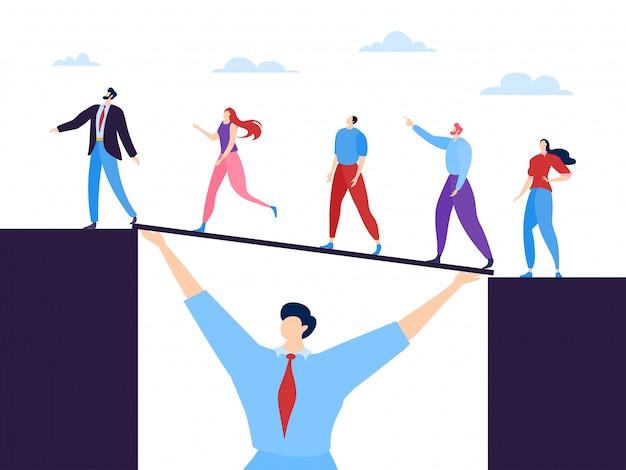 Ilustração do conceito de trabalho em equipe de negócios. especialistas unidos por um objetivo comum e assistência mútua. homem tem ponte. Vetor Premium