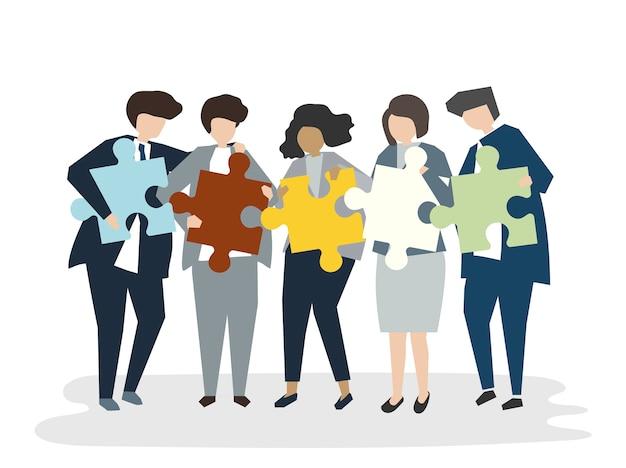 Ilustração do conceito de trabalho em equipe de pessoas avatar Vetor grátis