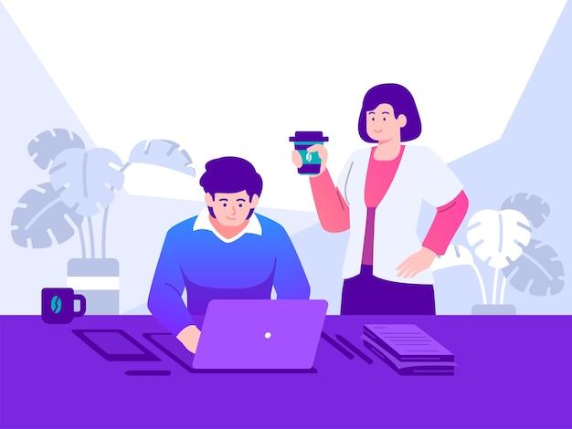Ilustração do conceito de trabalho na frente do computador Vetor Premium