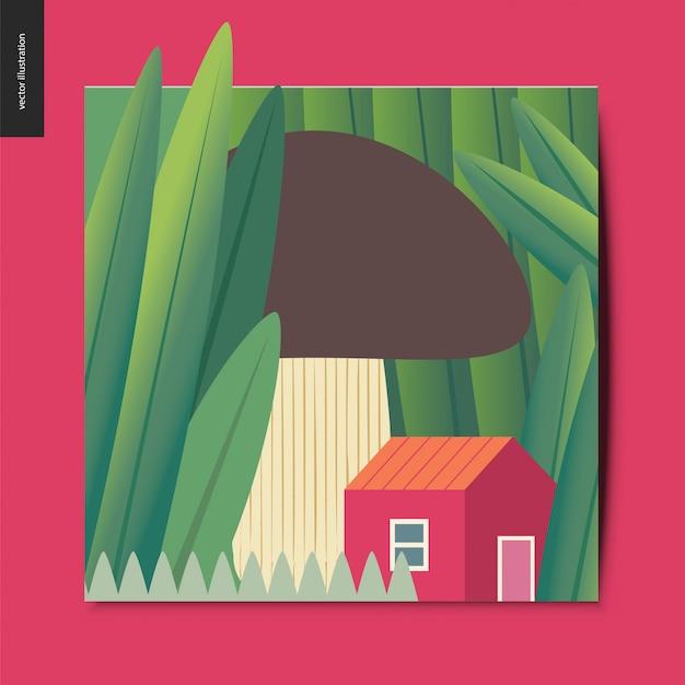 Ilustração do conceito de uma pequena casa vermelha sob o cogumelo crescendo entre troncos de grama enorme Vetor Premium
