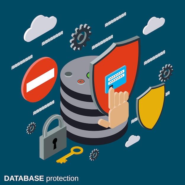 Ilustração do conceito de vetor isométrica de proteção de banco de dados Vetor Premium
