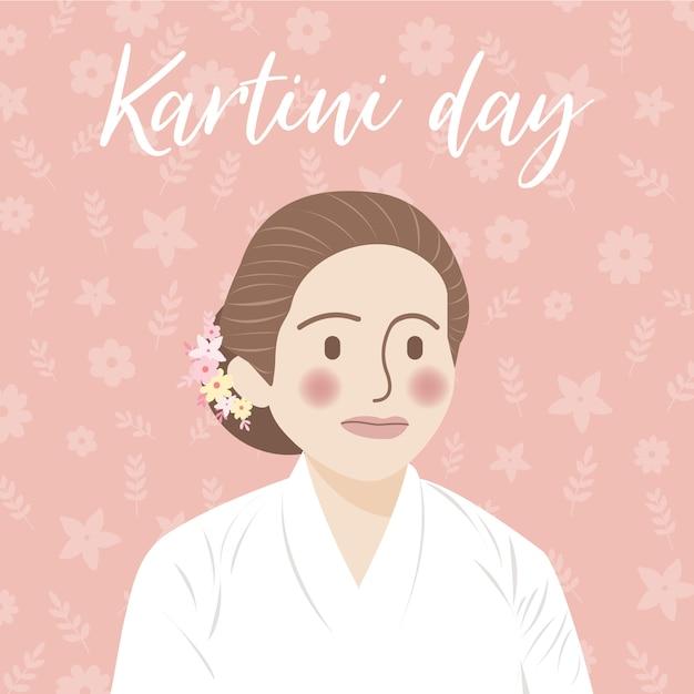 Ilustração do conceito do dia de kartini, comemoração do dia de kartini Vetor Premium