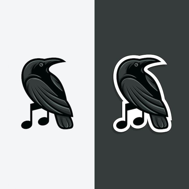 Ilustração do conceito do logotipo da música do corvo. Vetor Premium