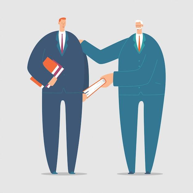 Ilustração do conceito dos desenhos animados do vetor da tutoria com jovens e homem idoso com um livro. Vetor Premium