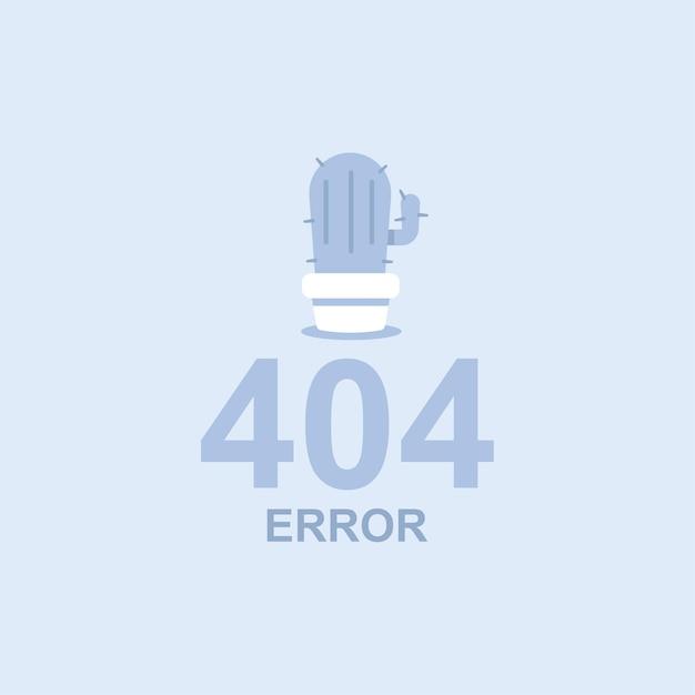 Ilustração do conceito plana de erro 404 com um cacto em uma panela. Vetor Premium