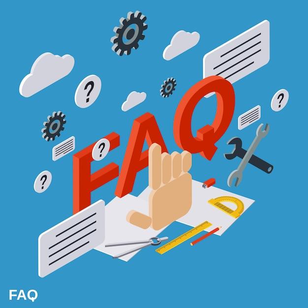 Ilustração do conceito plano isométrico faq Vetor Premium