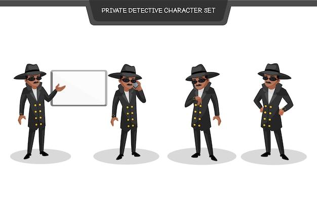 Ilustração do conjunto de caracteres do detetive particular Vetor Premium