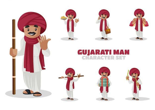 Ilustração do conjunto de caracteres do homem gujarati Vetor Premium
