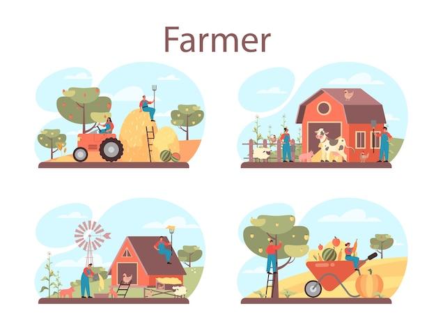 Ilustração do conjunto de conceitos de fazendeiro Vetor Premium