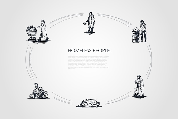 Ilustração do conjunto de conceitos de moradores de rua Vetor Premium