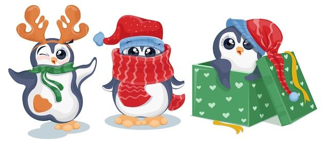 Ilustração do conjunto de desenhos animados de pinguins de natal Vetor Premium