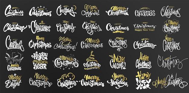 Ilustração do conjunto de feliz natal Vetor Premium
