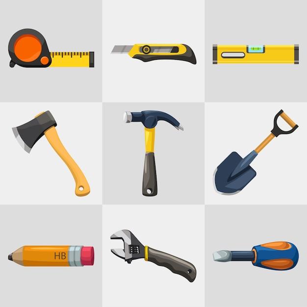 Ilustração do conjunto de ferramentas coloridas de reparo bonito isolado no fundo branco Vetor Premium