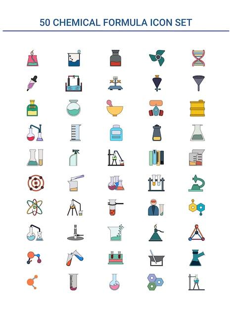 Ilustração do conjunto de ícones coloridos de 50 chamical formula. Vetor Premium