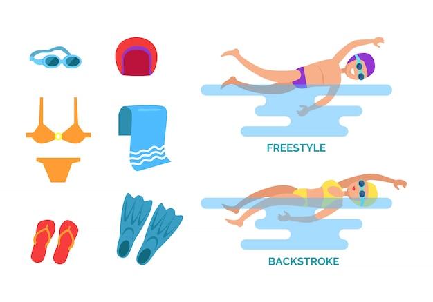 Ilustração do conjunto de nado de costas e freestyle Vetor Premium