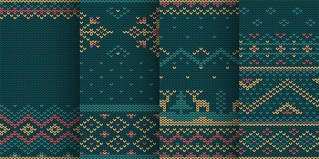 Ilustração do conjunto de padrão sem emenda de tema de natal em malha Vetor Premium