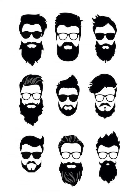 Ilustração do conjunto de rostos de homens barbudos, descolados com diferentes cortes de cabelo, bigodes, barbas. silhuetas homens cortes de cabelo estilo simples. Vetor Premium