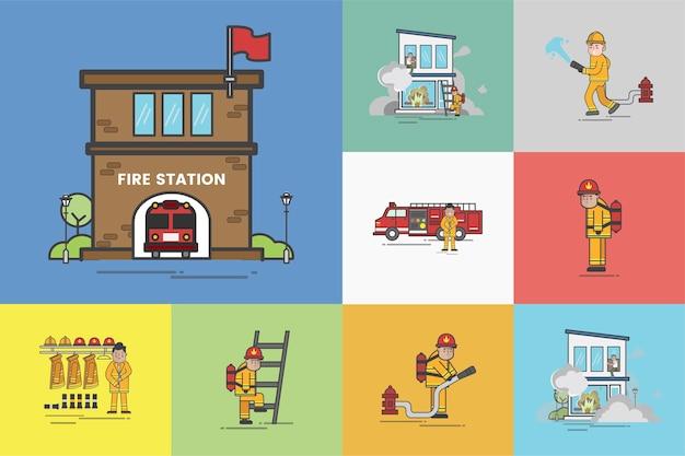 Ilustração do conjunto de vetores de bombeiro Vetor grátis