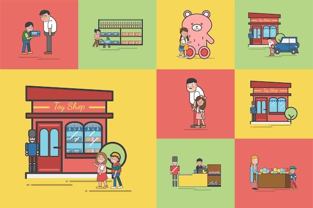 Ilustração do conjunto de vetores de loja de brinquedos Vetor grátis