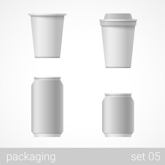 Ilustração do conjunto do pacote de metal e papel Vetor grátis