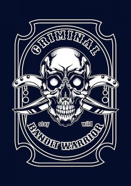 Ilustração do crânio da máfia para o t-shirt Vetor Premium