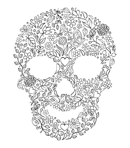Ilustração do crânio floral no branco. Vetor Premium