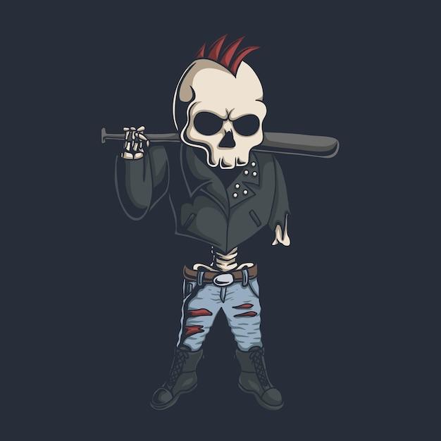 Ilustração do crânio punk Vetor Premium