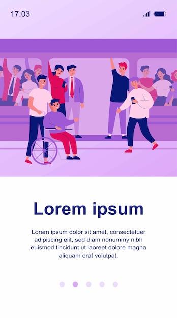 Ilustração do deficiente e seu ajudante viajando de metrô Vetor Premium